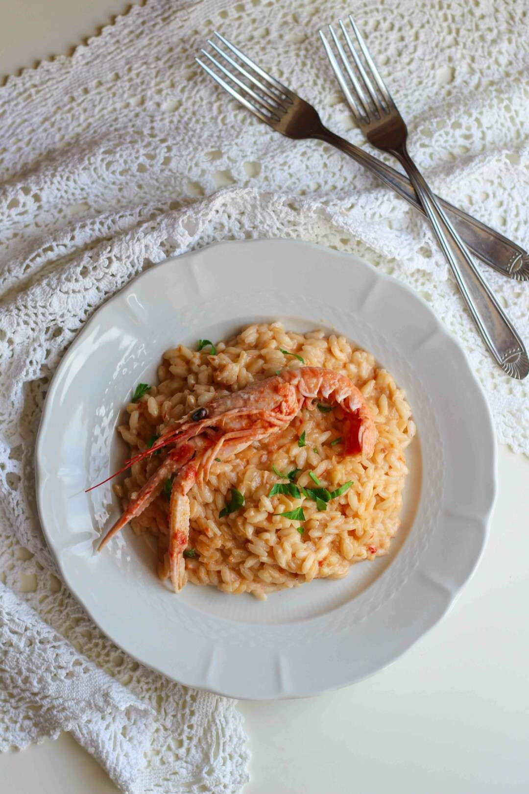 ricetta risotto con crema di scampi