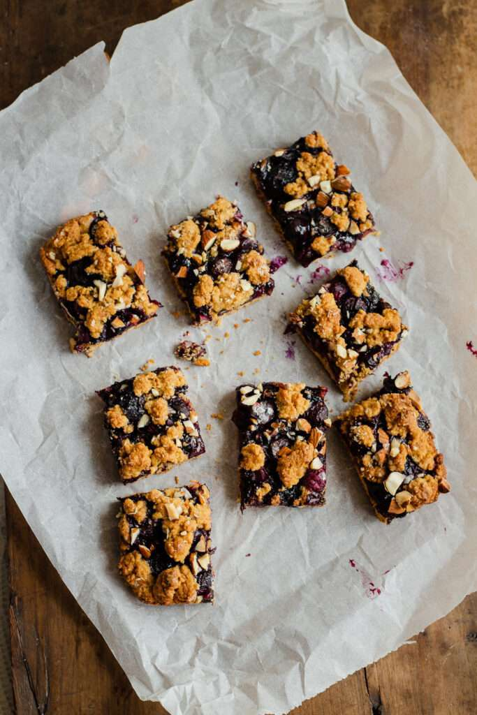 the recipe for blueberry almond crumble bars